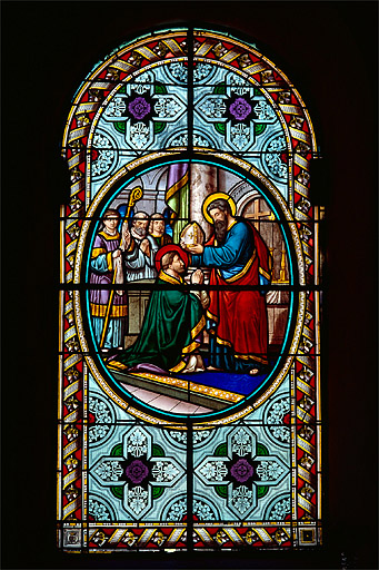 6 verrières (baies 5 à 10) : épisodes de la vie de saint Denis