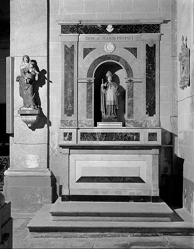 2 autels, tabernacle, 2 retables (autels secondaires de la Vierge et de saint Joseph)