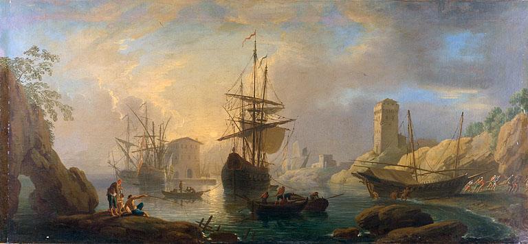 Tableau : Vue d'un port