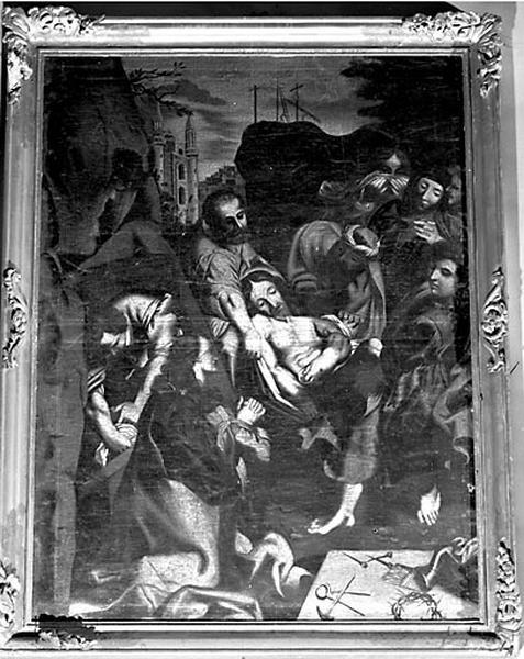 tableau et son cadre : la Mise au tombeau