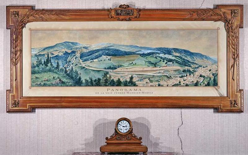 Tableau et son cadre : Panorama de la voie ferrée Morbier - Morez