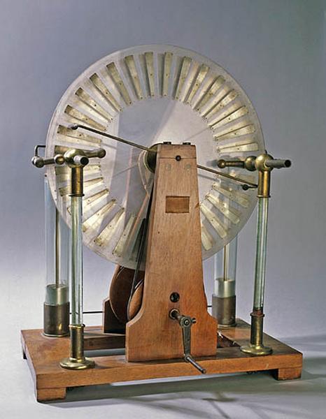 Instrument de démonstration en électrostatique (machine de Wimshurst)