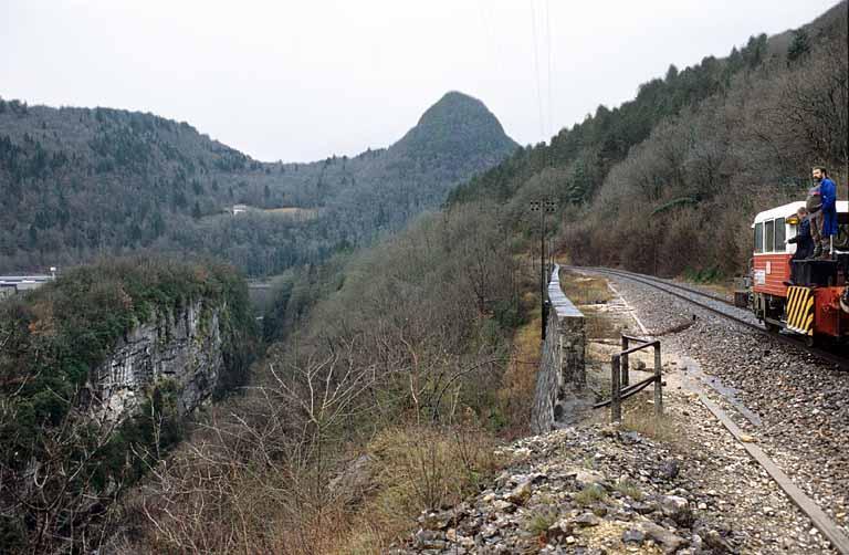 Section Saint-Claude - La Cluse de la voie ferrée Andelot - La Cluse