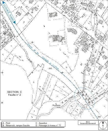 Passage à niveau n° 71, aqueduc et pont ferroviaire (voie ferrée Andelot - La Cluse)