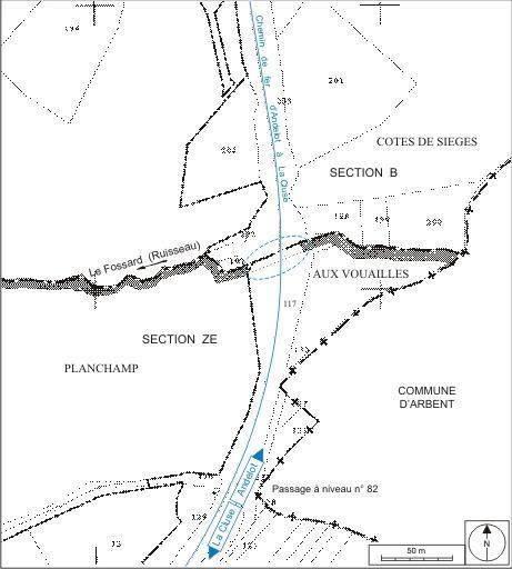 Mur de soutènement et 2 aqueducs (voie ferrée Andelot - La Cluse)