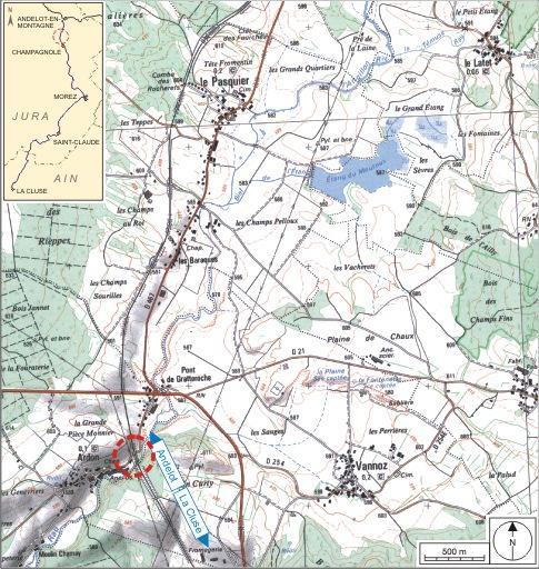 2 ponts ferroviaires (voie ferrée Andelot - La Cluse)