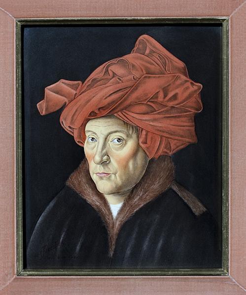 Tableau émaillé : l'Homme au turban rouge