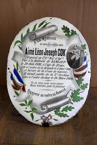 Plaque funéraire d'Aimé-Léon-Joseph Cok