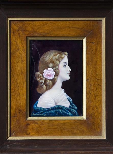 Tableau émaillé : Femme au châle bleu