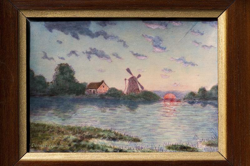tableau émaillé : Paysage avec moulin à vent