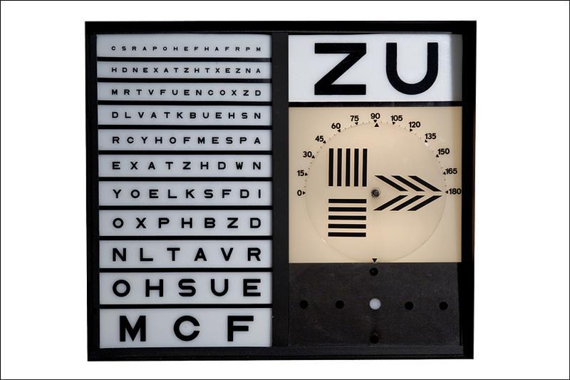 3 instruments de mesure des angles en optique et d'ophtalmologie (tests d'acuité visuelle de Monoyer et test de Mallett)