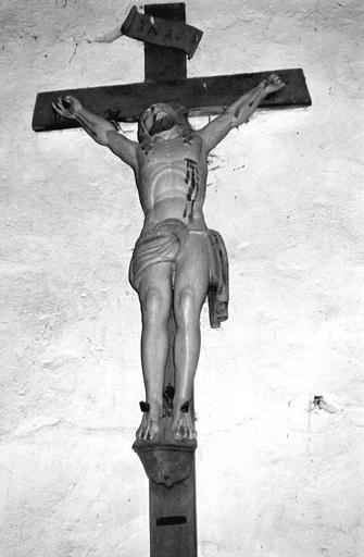 Statue, croix (crucifix, petite nature) : Christ en croix