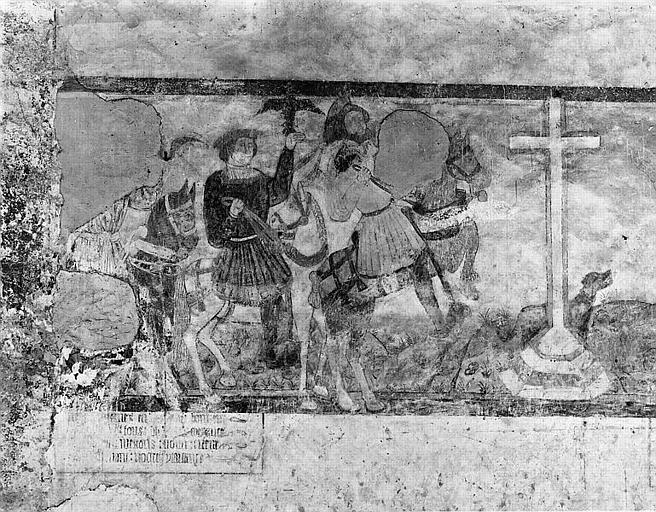 Peinture murale : Nativité, Fuite en Egypte, Jugement dernier, les Trois morts et les trois vifs, Sacrifice d'Isaac, saints, martyres