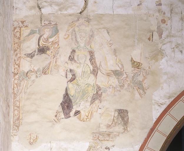 Peinture murale : Vierge à l'Enfant en gloire, Enfer, homme