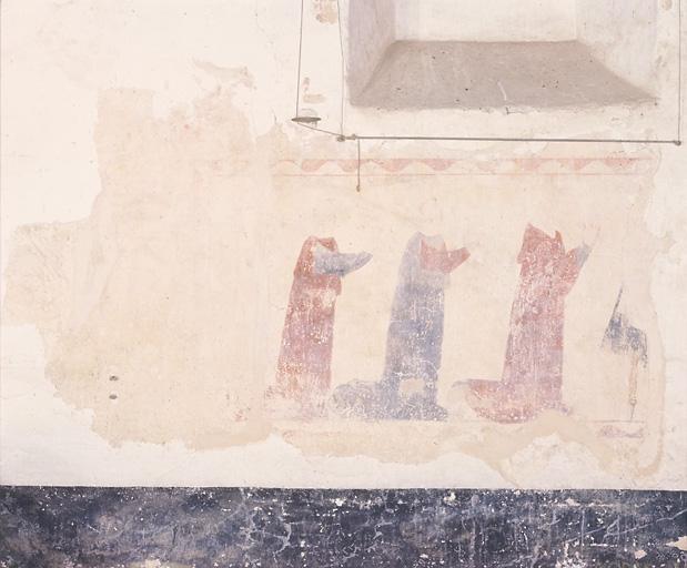 Peinture murale : fidèles priant à genoux