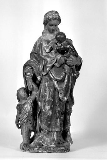Groupe sculpté : Vierge à l'Enfant et saint Jean-Baptiste enfant