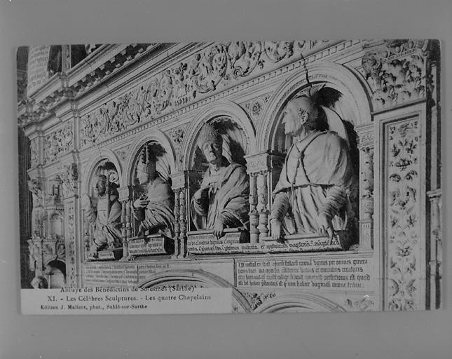4 bustes à mi-corps : saint Bernard, saint Anselme, saint Augustin, saint Jérôme