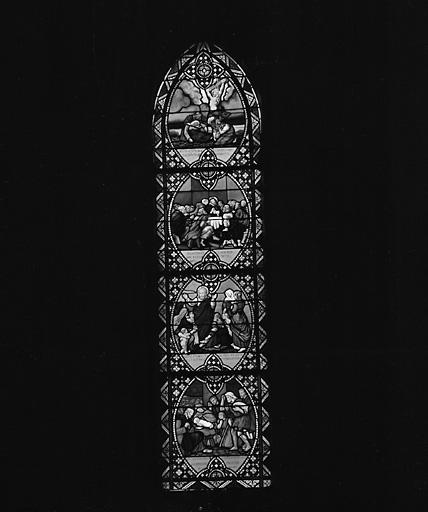 ensemble de 4 verrières : vie de saint Pierre, vie du Christ, vie de la Vierge, vie de saint Martin