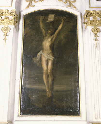 2 tableaux (en pendant) : Christ en croix, Vierge de Pitié