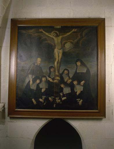 Tableau : saint François de Sales et les visitandines cueillant les vertus au pied de la Croix