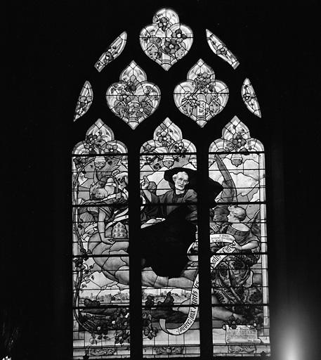 4 verrières (vitrail tableau) : saint Pierre bénit Parcé-sur-Sarthe, sainte Marguerite d'Antioche, Reniement de saint Pierre, Agonie du Christ