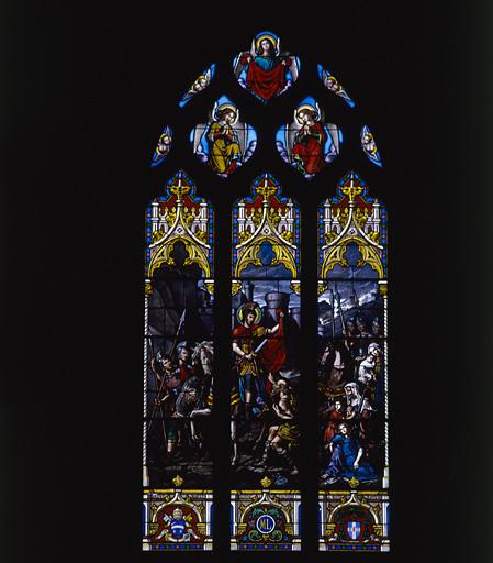 3 verrières (vitrail tableau) : Nativité, Charité de saint Martin, saint recevant le chapelet de la Vierge à l'Enfant