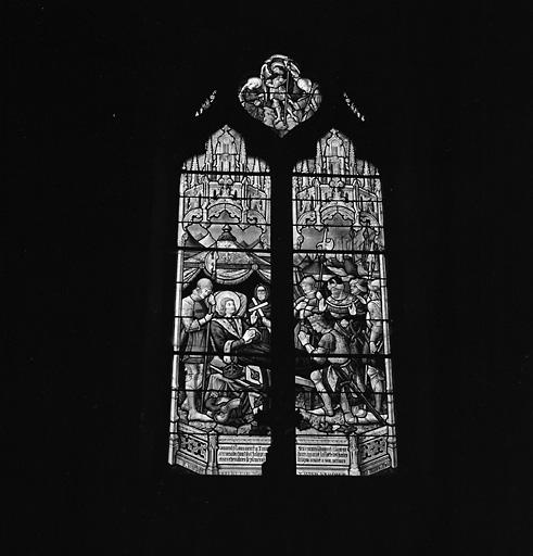 2 verrières (vitrail tableau) : sainte Clotilde priant pour la guérison de Clodomir, Baptême de Clovis, Mort de saint Louis, saint Michel pèse l'âme de saint Louis