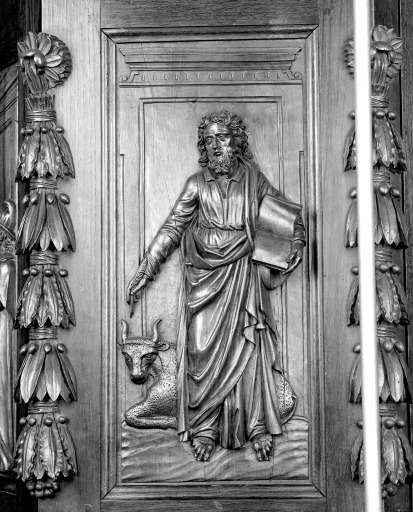 Ensemble de 5 bas-reliefs : Christ enseignant, saint Jean, saint Marc, saint Luc, saint Matthieu