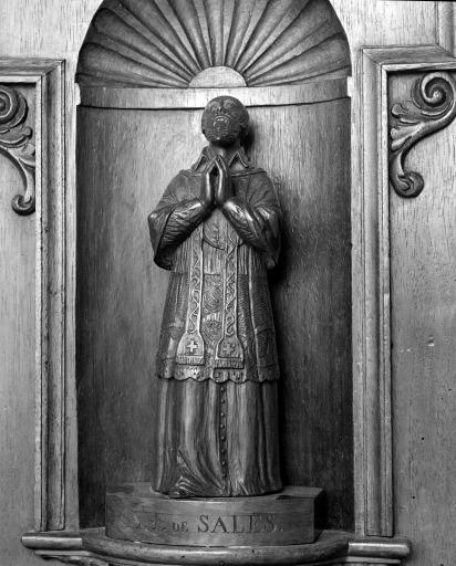 Ensemble de 2 statues du tabernacle : saint François de Sales, saint Vincent de Paul