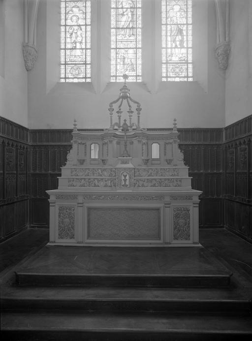 maître autel, tabernacle à ailes et dais d'exposition