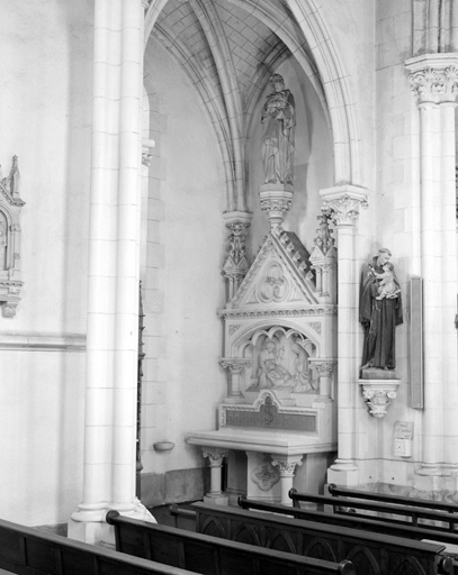 Autel, gradin d'autel, retable, statue : Saint Joseph et l'Enfant Jésus, Mort de Saint Joseph (autel secondaire de saint Joseph)