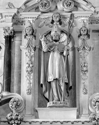 statues : Saint Melaine, saint Laurent, sainte Barbe