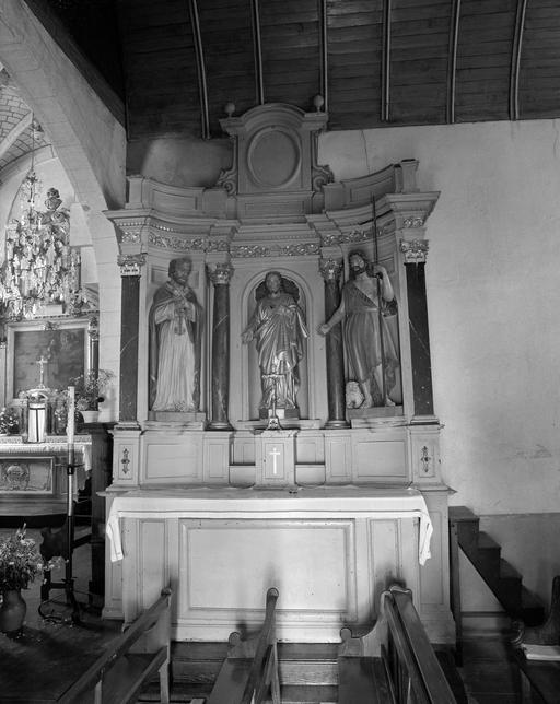 Autel, retable, tabernacle, statue (retable architecture à niche, autel secondaire) : Salvator Mundi