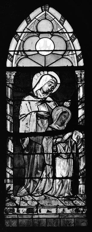 Verrière à personnages de la baie 4 : Éducation de la Vierge, église paroissiale Saint-Pierre (Plouescat)
