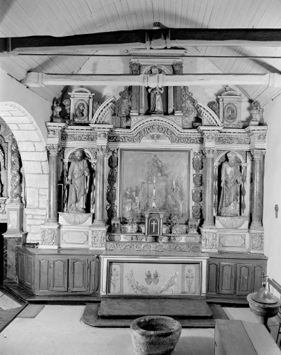 Retable latéral sud et son tableau: Education de la Vierge, dit autel-retable de la Sainte Parenté