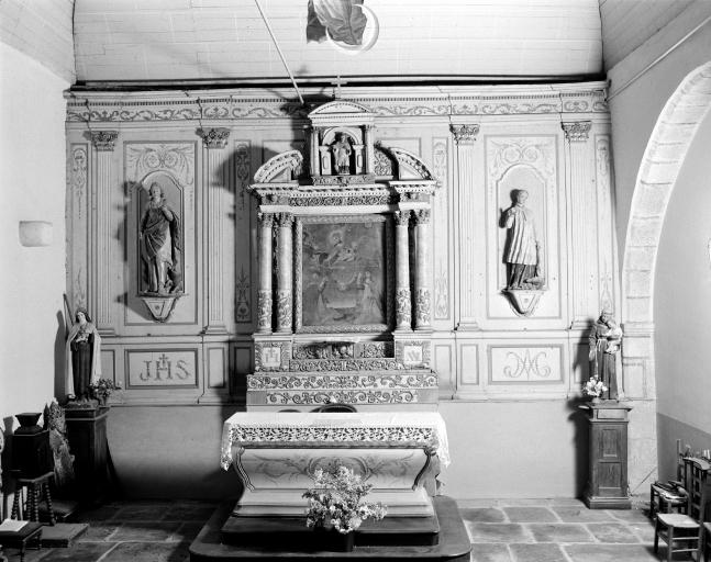 Autel, retable, statue, tableau (autel secondaire, autel tombeau, retable architecturé) : La Donation du Rosaire
