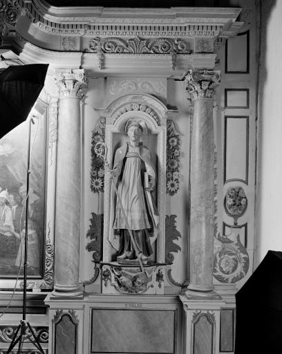 Ensemble de 3 statues: Christ, Saint Sébastien, Saint Gilles