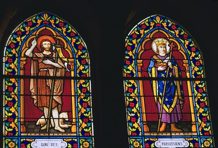 Verrière de la baie 2 (verrière à personnages): saint Jean-Baptiste, saint Louis