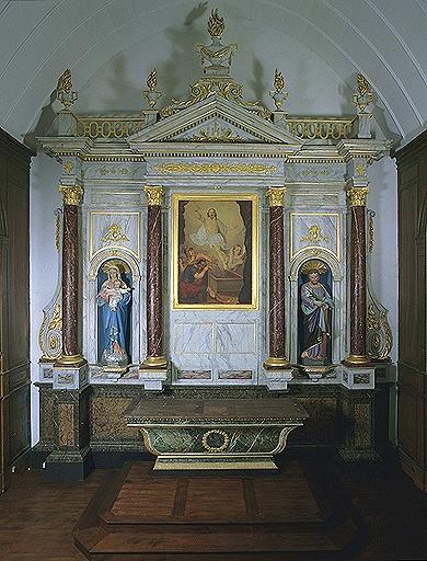Ensemble du maître-autel (autel, 2 gradins, retable, degré, tabernacle)