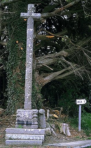 Croix de chemin, rue du Moulin ; rue du Prieuré (Roz-Landrieux)