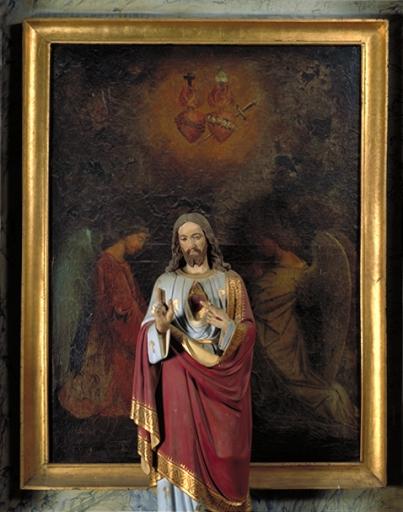 Tableau: Adoration des saints coeurs de Jésus et de Marie