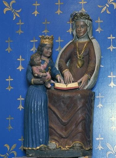 Statue: sainte Anne enseignant, la Vierge et l'Enfant, Ropenard (Maure-de-Bretagne fusionnée en Val d'Anast en 2017)