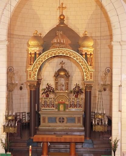 Ensemble du maître-autel: autel avec gradin d'autel, 2 degrés d'autel, baldaquin d'autel, tabernacle et exposition