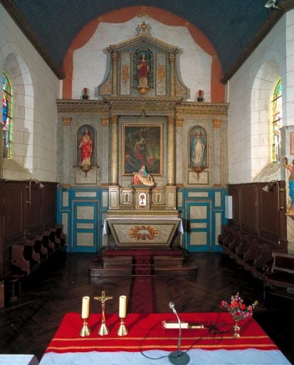 Ensemble du maître-autel: autel, tabernacle, retable, 2 gradins d'autel, 2 degrés d'autel