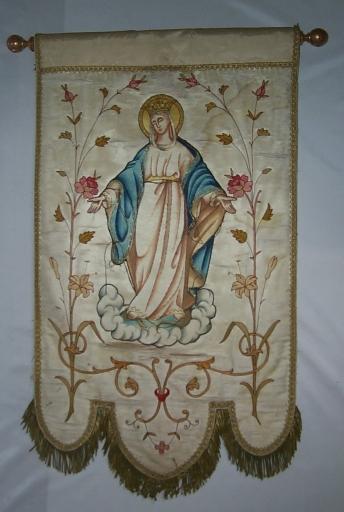Ensemble de 2 bannières de procession: Immaculée Conception, Enfant Jésus