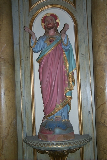 Ensemble de 2 statues : saint Evêque; Sacré Coeur
