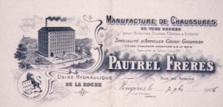 Moulin de la Roche, puis usine de chaussures Pautrel frères, puis laiterie de la Blanche Hermine, actuellement laiterie Nazart, 2 rue du Nançon (Fougères)