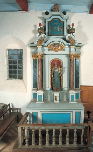 Ensemble de l'autel de la Vierge: autel, retable, tabernacle