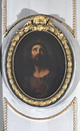 Paire de tableaux et leur cadre: le Christ et Marie-Madeleine, en médaillon