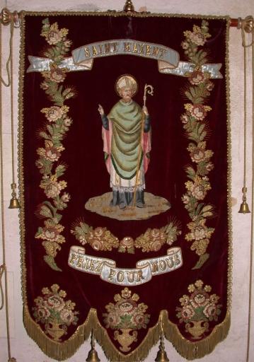 Bannière de procession paroissiale: saint Maxent, Vierge à l'Enfant
